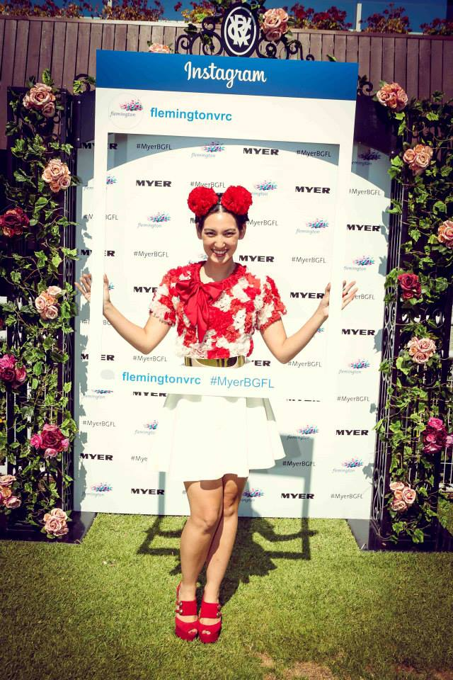 Make like Angela and enter the Flemington Autumn Racewear competition. Photo from Flemington Racecourse Facebook page.