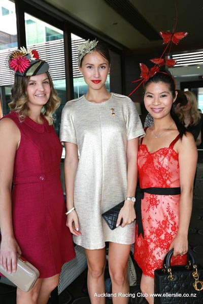 Tynille Catanzariti from the VRC with Chloe Moo and designer Natalie Chan at the Prix de Fashion lunch, held before the competition.