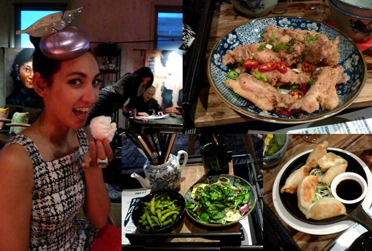 Clockwise from left: Angela and the BBQ Pork Bun; the China Fried Chicken Ribs; Pork & Chive Dumplings; Chicken Dumpling & Quinoa Salad and Edamame in Rice Wine.