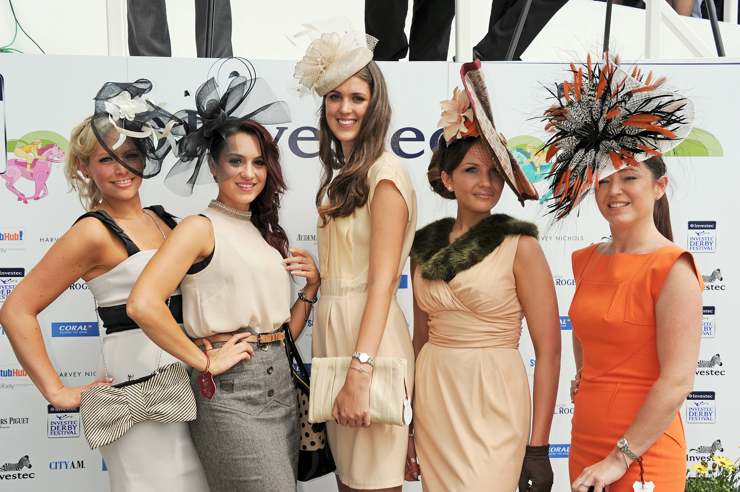 Last year's finalists in the Harvey Nichols Best Dressed competition at Epsom Downs.
