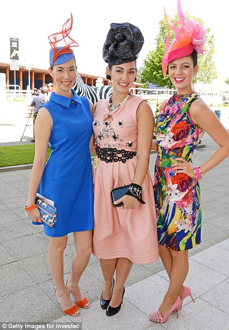 L-R: Lisa, Angela and Kelli at the Investec Oaks at Epsom Downs. Photo from www.dailymail.co.uk.