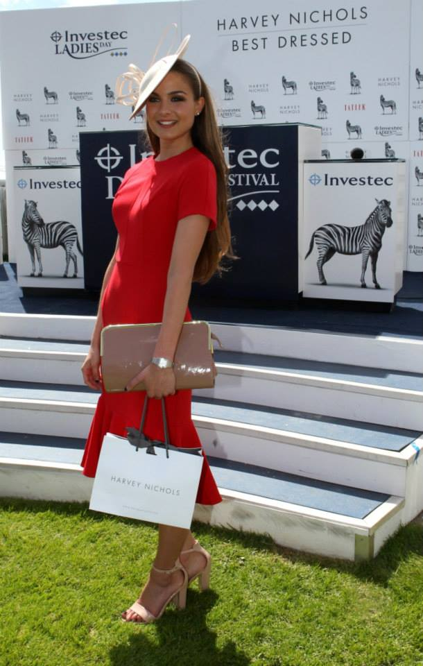 Best Dressed winner Rosie Devito wears a dress from ASOS and hat from John Lewis. Photo from Epsom Downs Facebook page.