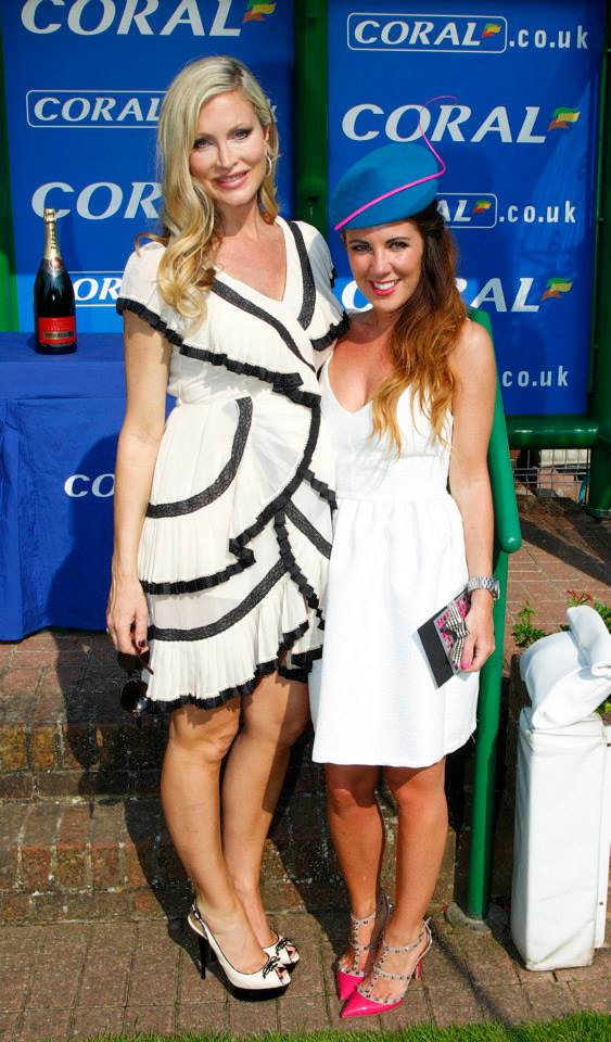 Last year's Best Dressed winner Frankie Haylock with judge Caprice. Photo from Sandown Park Facebook page.