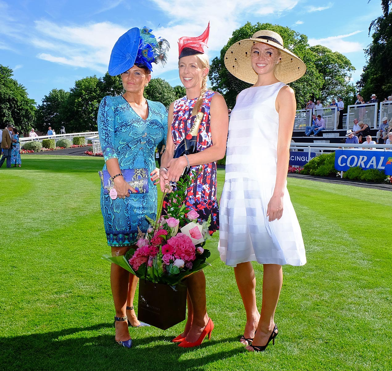 Best Dressed Lady Gail McLean (centre) with judges Ilda di Vico (left) and Noelle Reno (right).