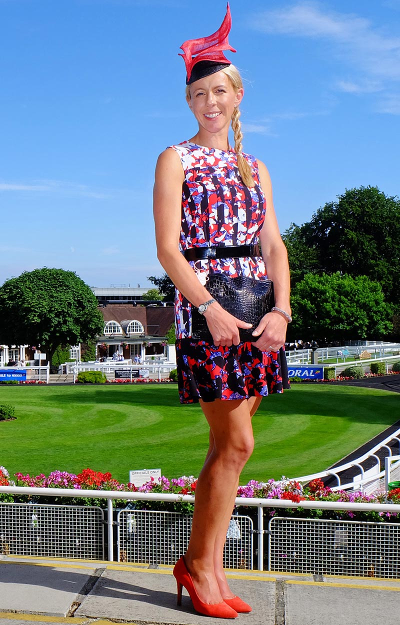 Gail's winning outfit comprising Peter Pilotto for Target dress, bespoke Lisa Tan hat and shoes from The Kooples.