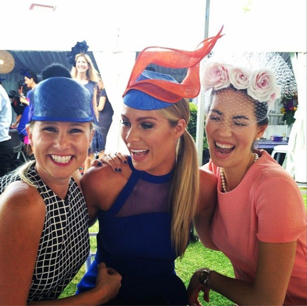 Don't let the smiles fool you - judging is hard! L-R 2013 WA winner Kate Watts, 2014 Myer Fashions on the Field Ambassador Rebeccah Panozza, and Lisa. Photo from instagram.com/beccypanozza.