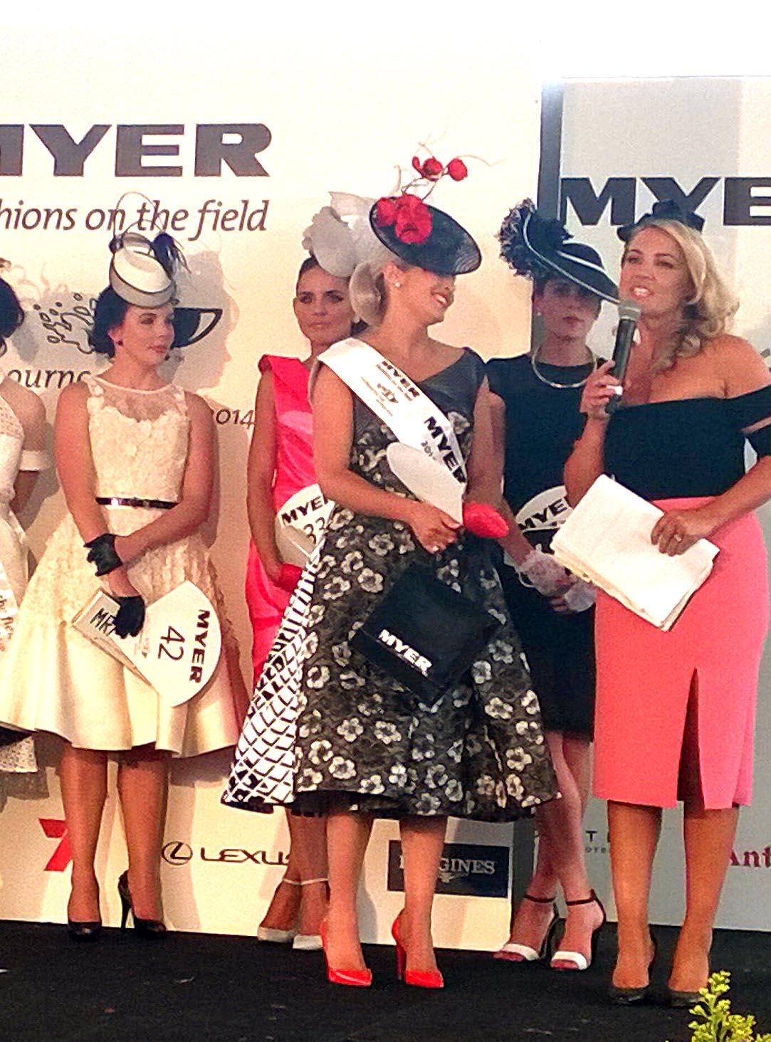 The winner, Nikki Gogan, in Maticevski and Reny Kestel.