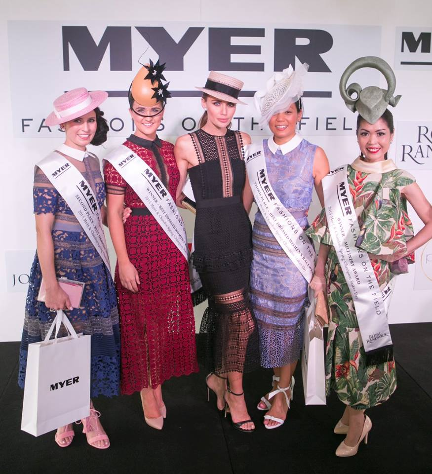 Winner Whitney (second from left) flanked by runners-up, judge Jodi Anasta (centre) and millinery winner (far right)