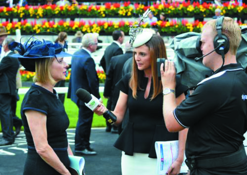 Gina Harding (centre) interviews Gai Waterhouse at the Sydney Autumn Carnival this year.