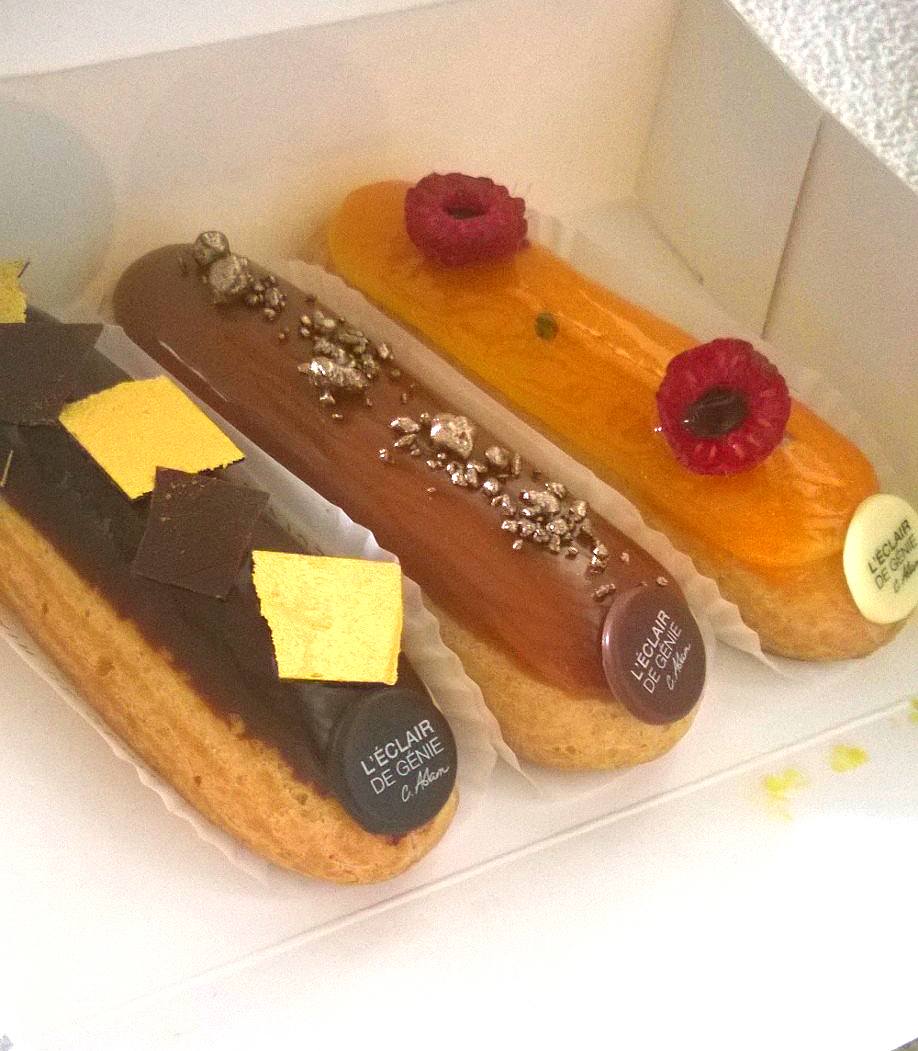 L'Éclair de Génie's selection, from L-R: dark chocolate, salted butter caramel, and passion fruit raspberry