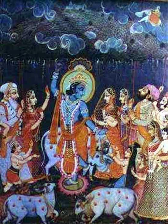 Mount Govardhan image, Krishna, Indra, yoga mythology
