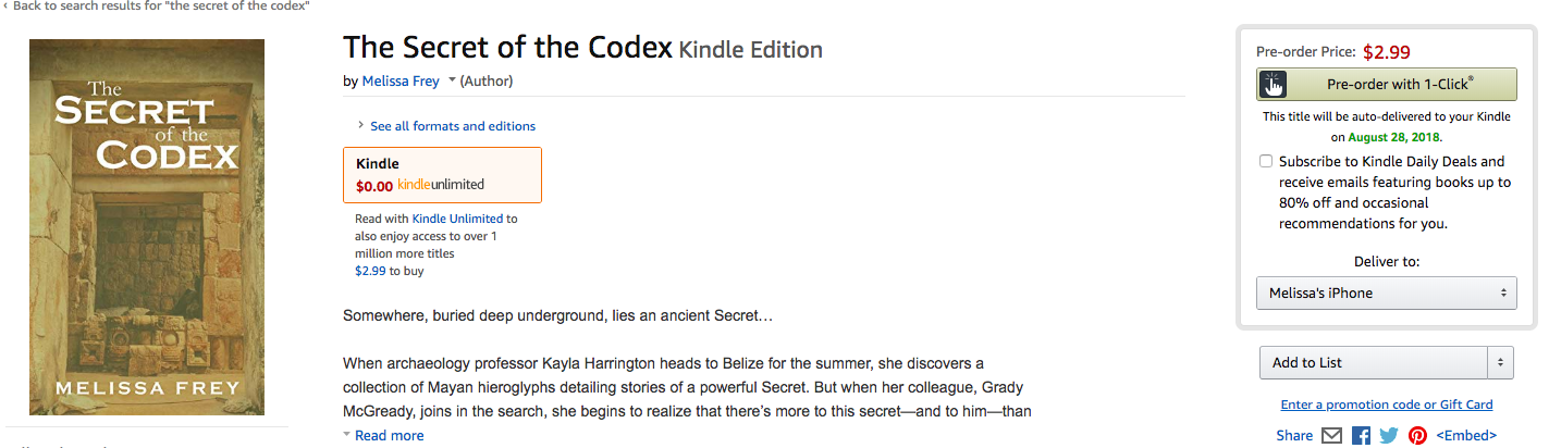 The Secret of the Codex eBook Preorder!