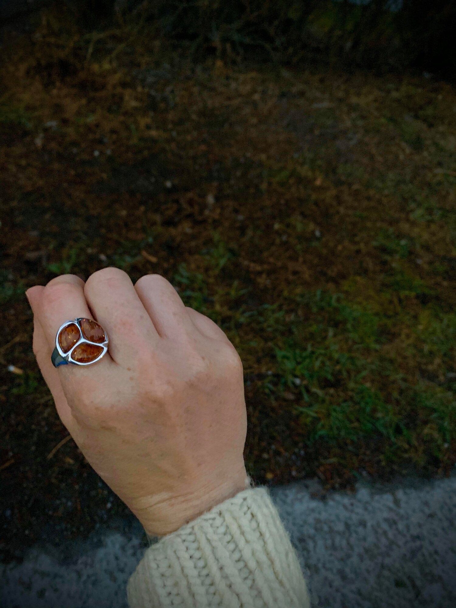 Sterling Silver and Amber Ring  The Last Temptation