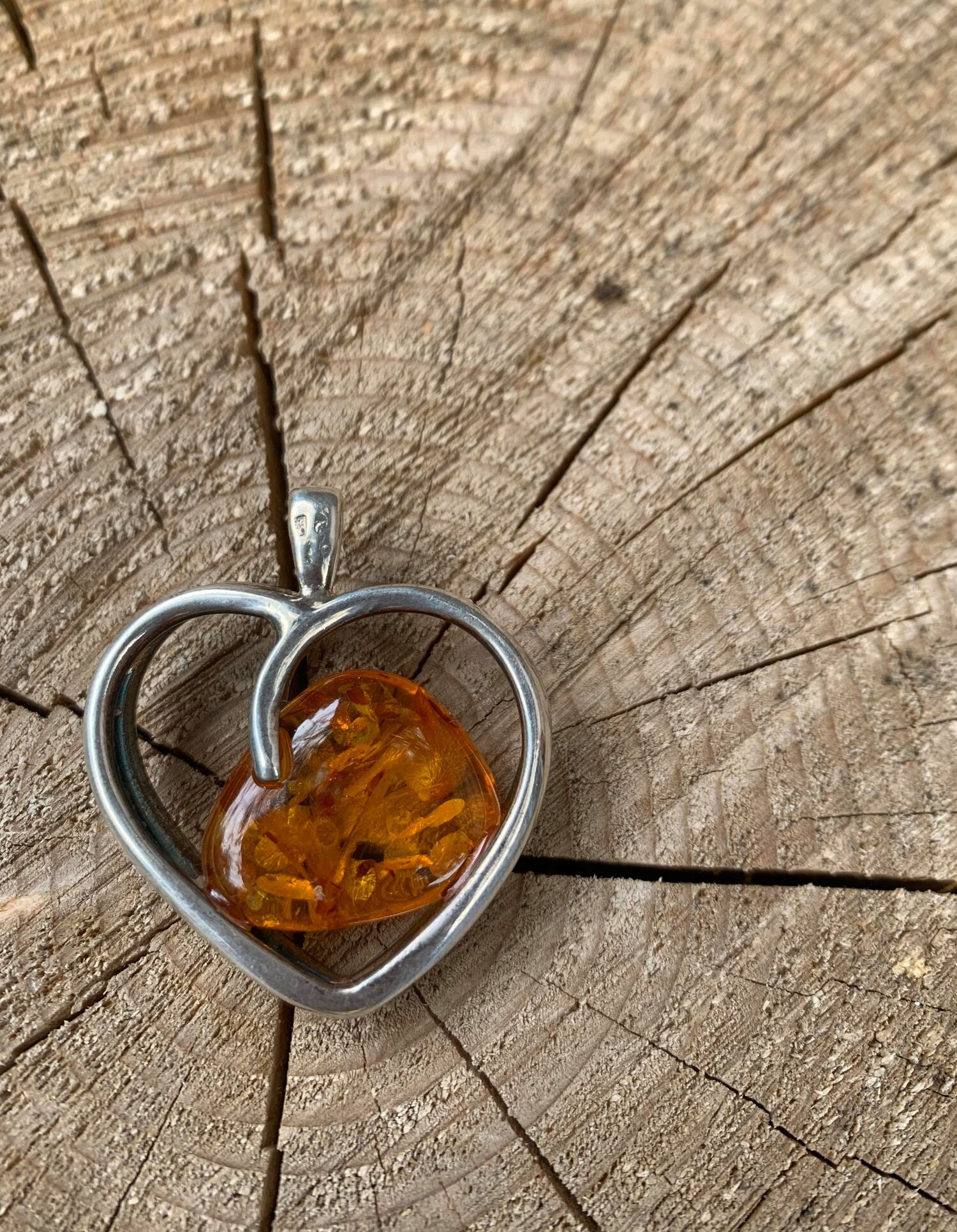 12g Sterling silver and Amber Heart Pendant.  The Last Temptation