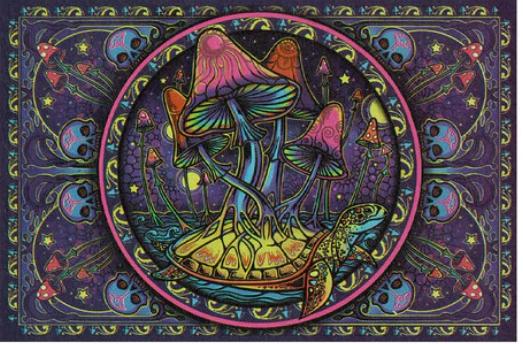 3D Psychedelic Mushroom Tapestry  The Last Temptation