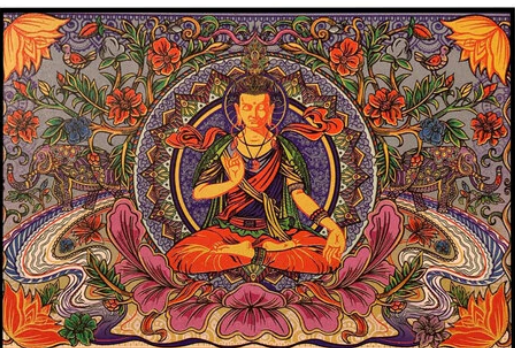 3D Budda Lotus Tapestry  The Last Temptation