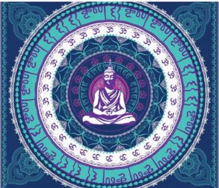 3D Budda Madela Tapestry  The Last Temptation