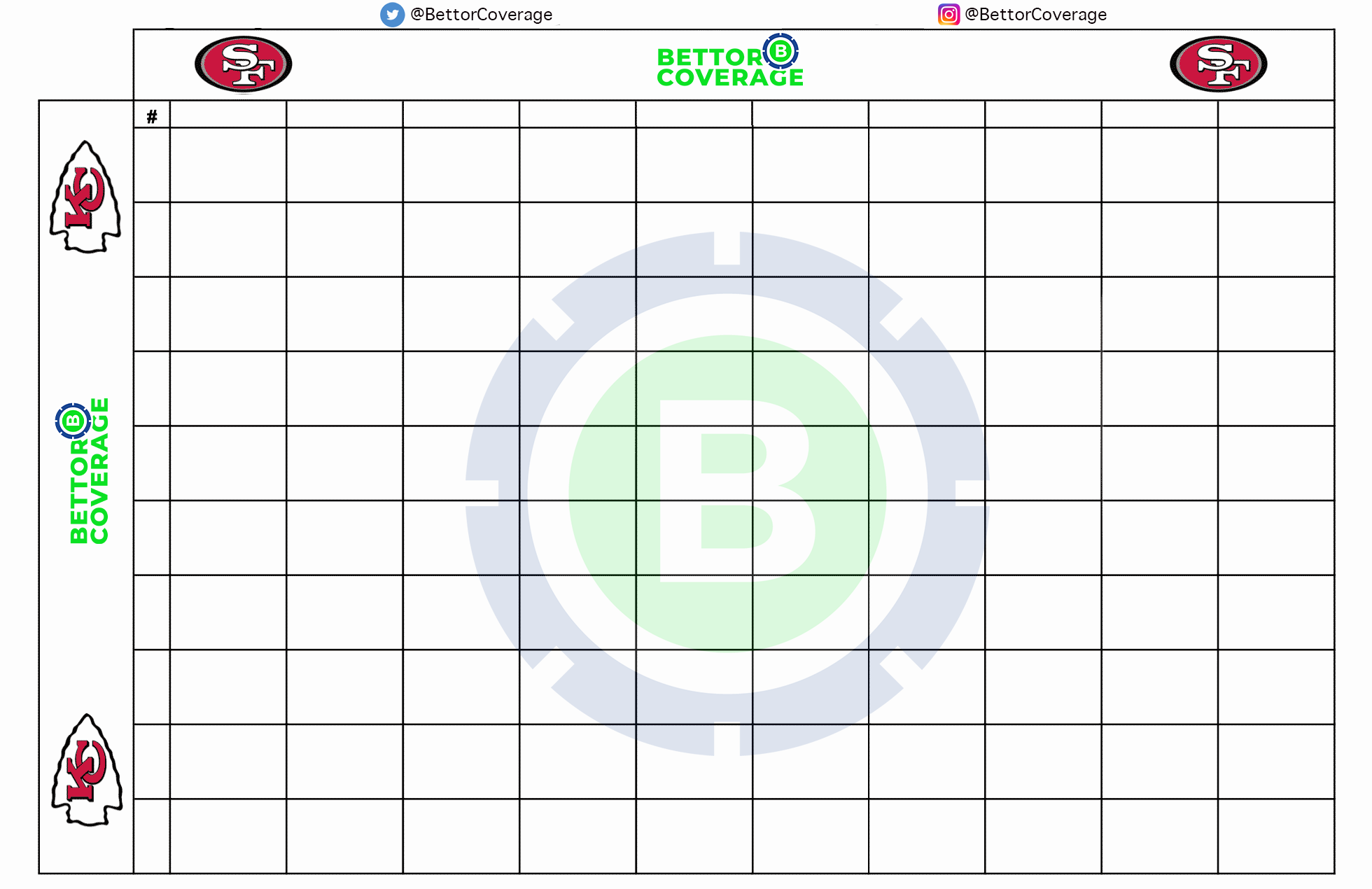 This is a graphic of Super Bowl Squares Printable for full page