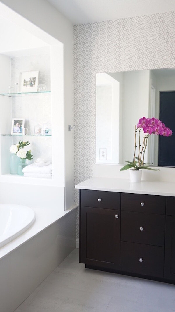 Project Reveal Classic And Fresh Master Bathroom Update Eggshell Home San Francisco Bay Area Interior Designer