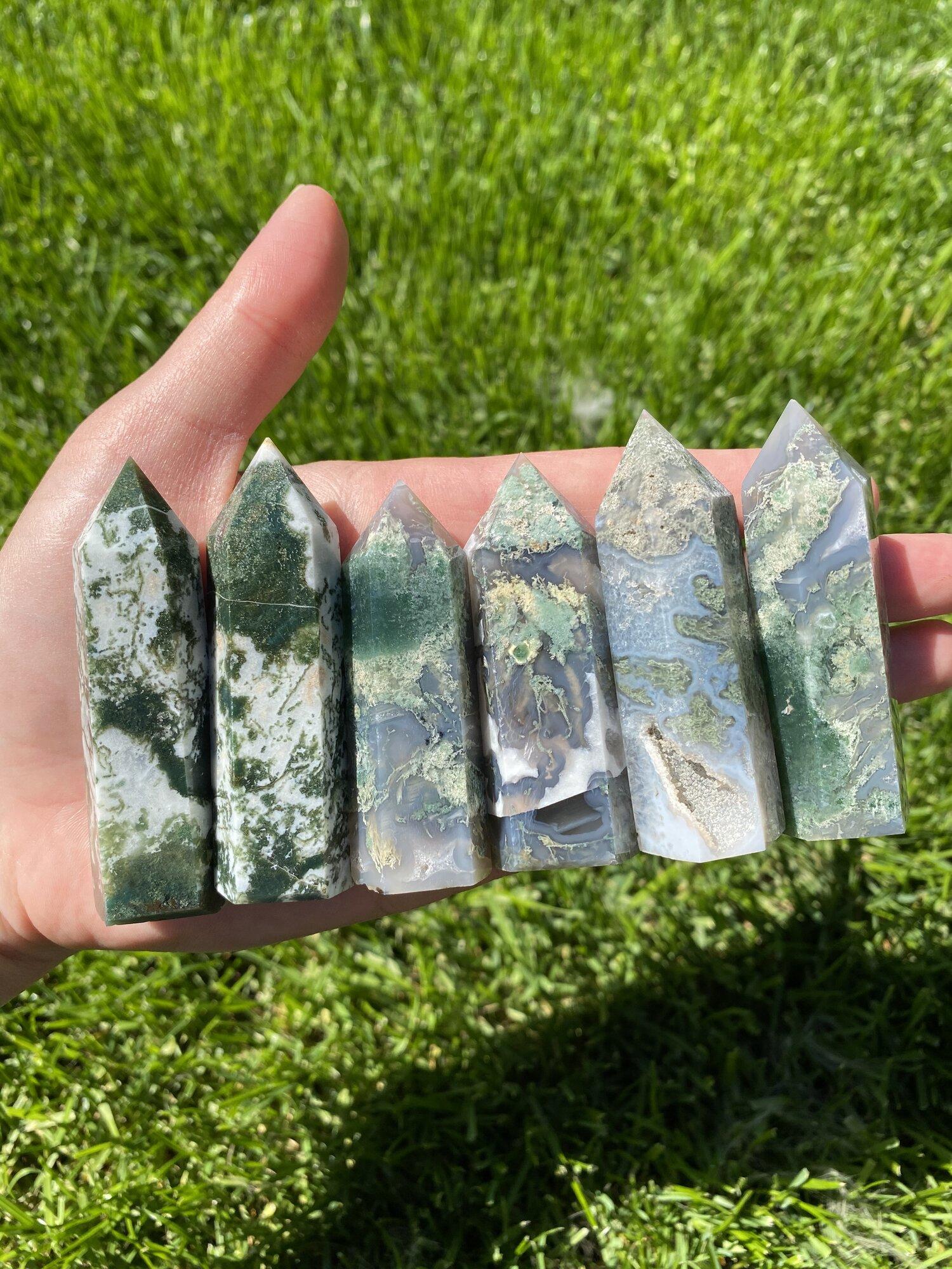 Moss Agate Baguette Shape Gems Moss Agate Stone 27x47x5 mm Natural Moss Agate Moss Agate Gemstone