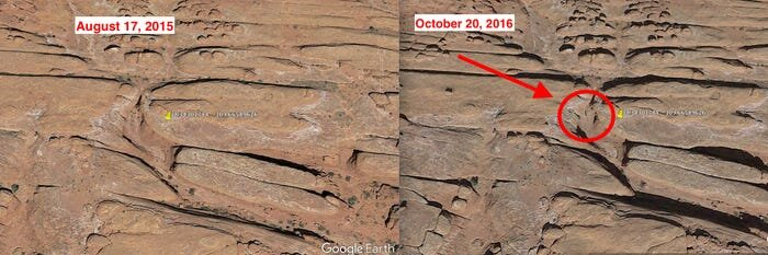 A side-by-side of the mysterious Utah monolith's location: left August 2015, right October 2016.