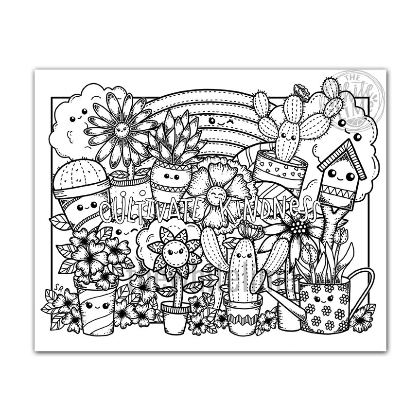 Cultivate Kindness Coloring Page, Cute Kawaii Coloring Page For Kids And  Adults, Kawaii Art — The White Lime
