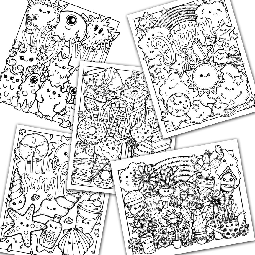Kawaii Coloring Page Set, Cute Kawaii Coloring Pages For Kids And Adults —  The White Lime