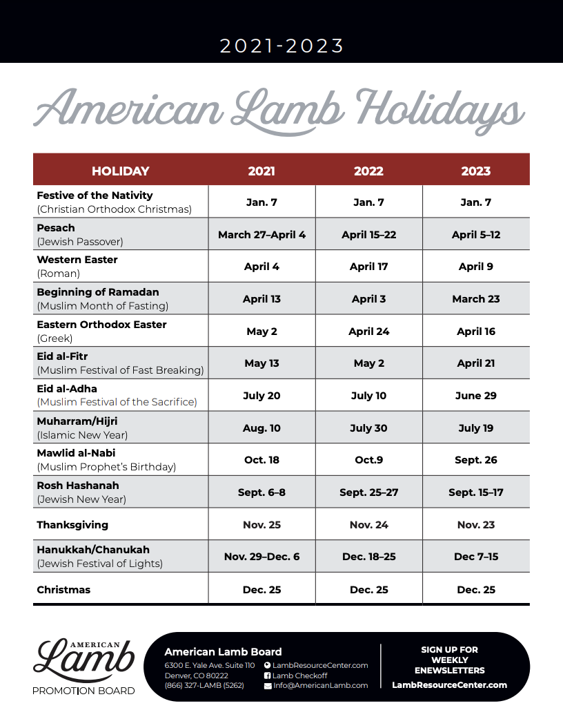 Yale 2022 Calendar.American Lamb Holiday Calendar And Ethnic Marketing Tools Help With Planning Lamb Resource Center