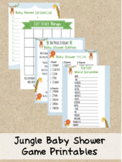 Jungle Theme Baby Shower Printable Games