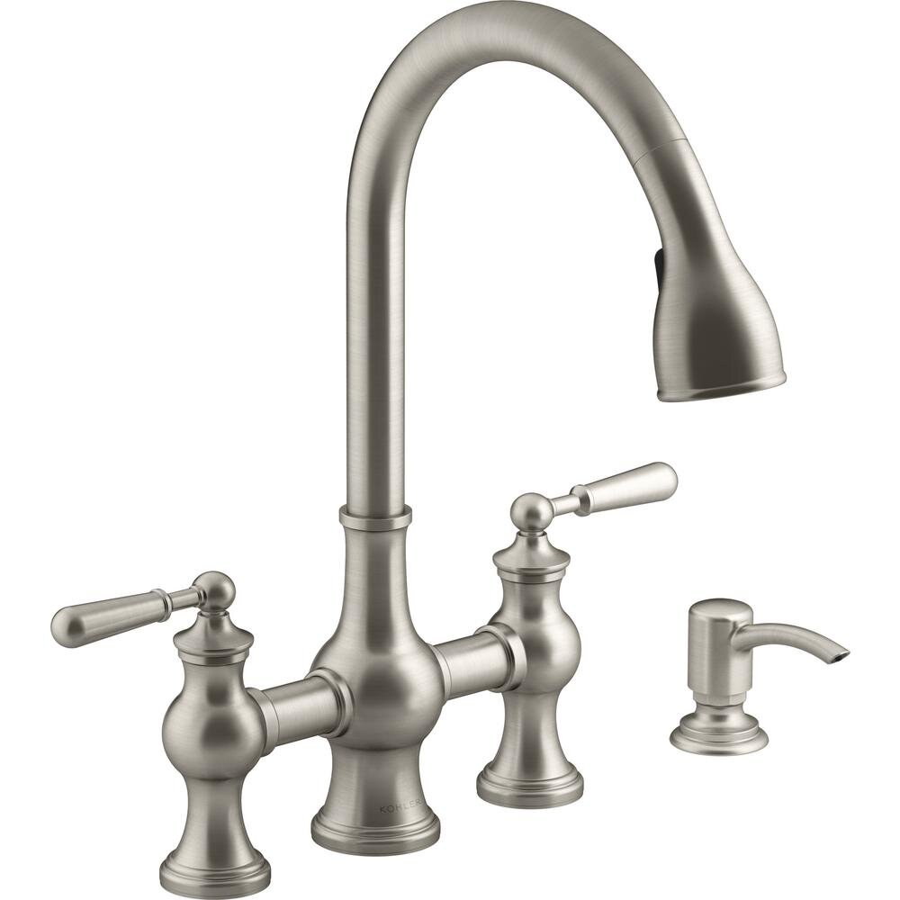 Capilano 2 Handle Bridge Farmhouse Pull Down Kitchen Faucet With Soap Dispenser And Sweep Spray In Vibrant Stainless Reliable Renovations Llc
