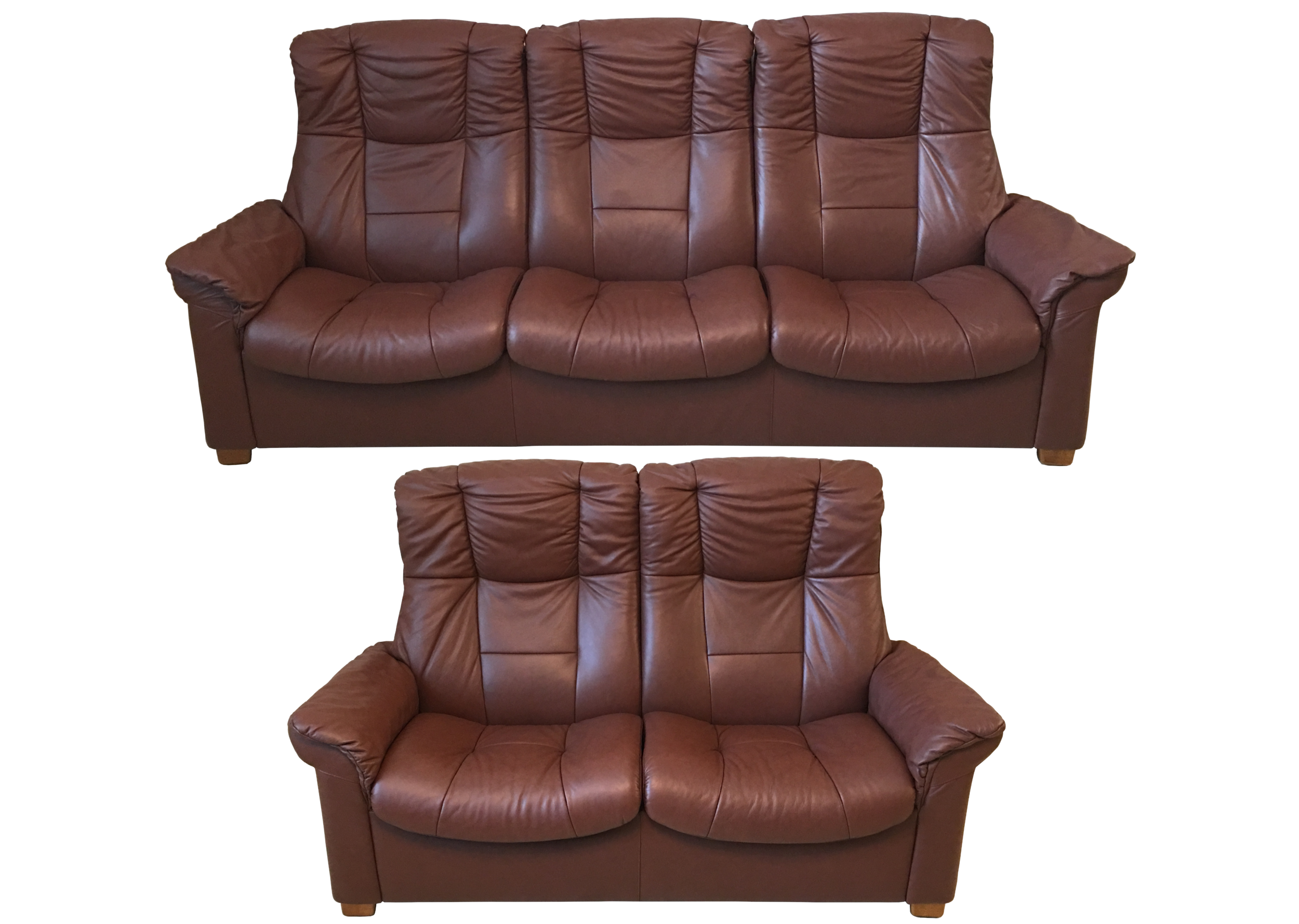 - Ekornes Stressless 'Eldorado' Leather Recliner Sofa Set High Back