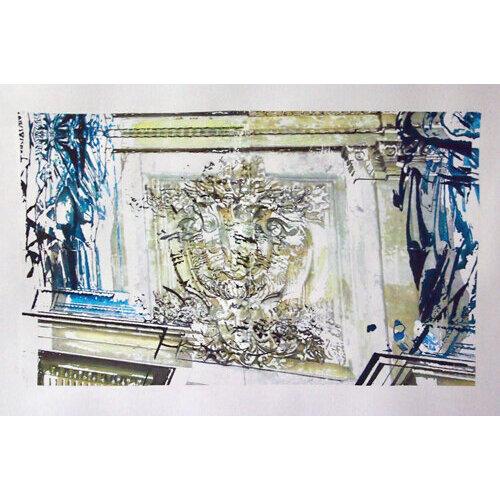 "Adriyanna Zimmermann, ""Fountain Wall"", mixed media on paper, 18x24          CANVAS."