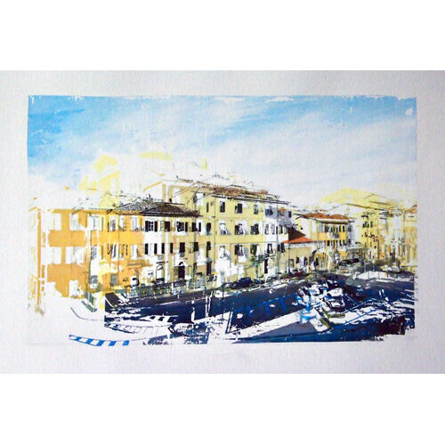 """Adriyanna Zimmermann, """"Town of Lucca"""", mixed media on paper, 11x15          CANVAS."""