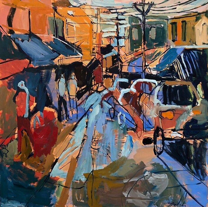 "Amy Dryer, ""Sunday Market"", oil on canvas, 48x48          CANVAS."