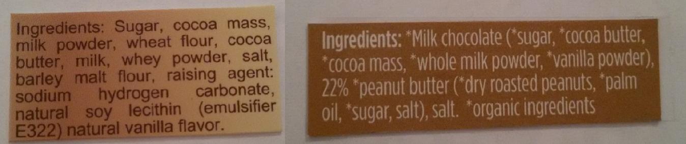 巧克力成分列表