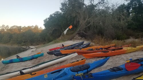 Image of some kayakers having fun on the suwanne river trail trip