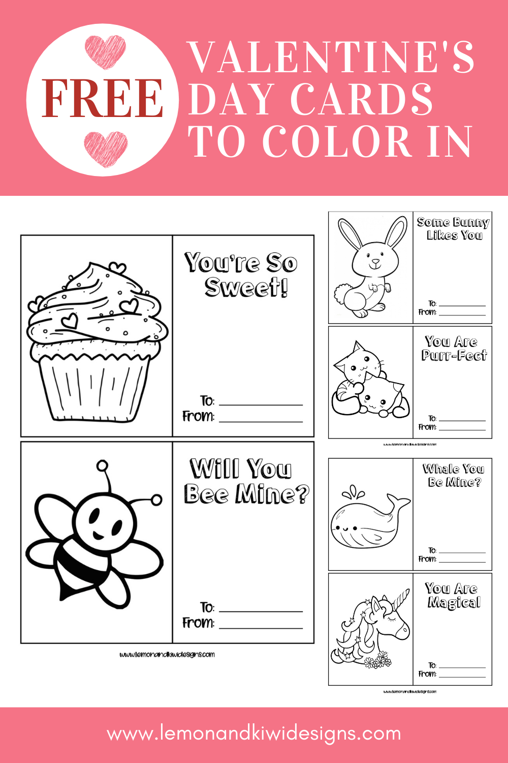Free Valentine S Day Cards To Color In Lemon Kiwi Designs