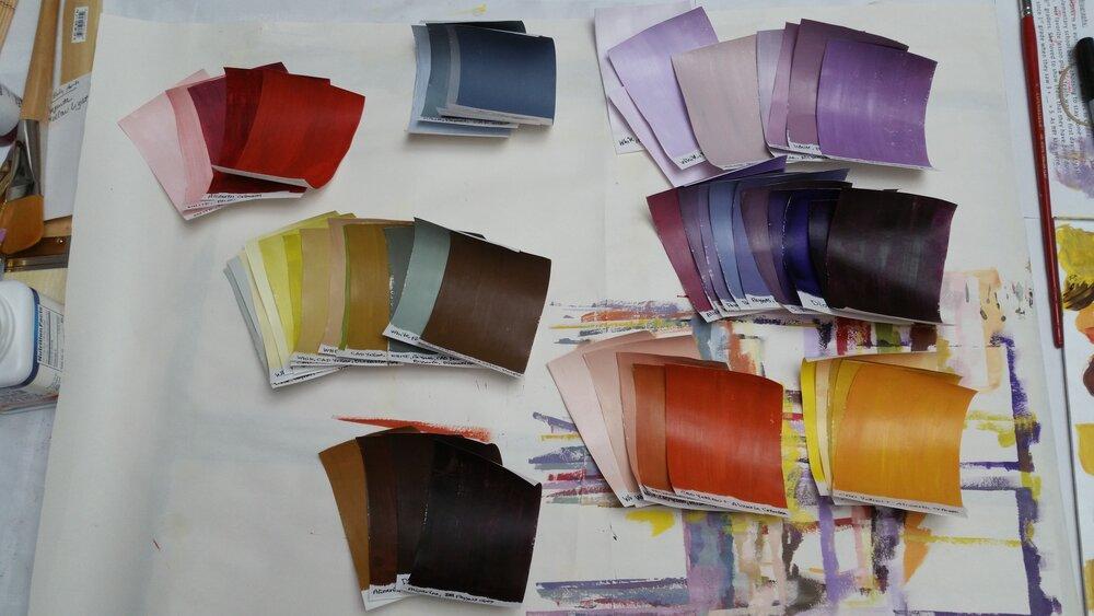 Color palette: Cadmium Yellow Light, Alizarin Crimson, Dioxazine Purple, Paynes Grey, Titanium White