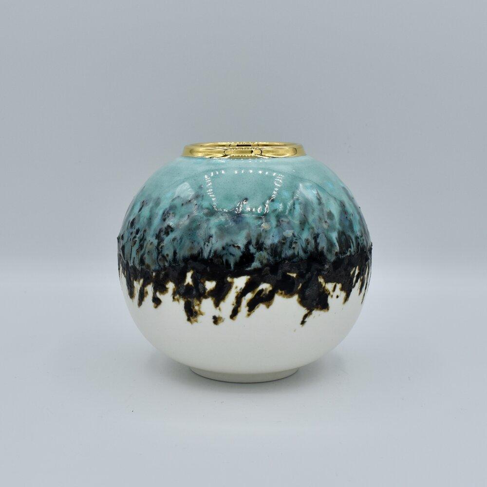 Turquoise And Inlaid Black Clay Sea Globe Gold Blackbird Ceramics