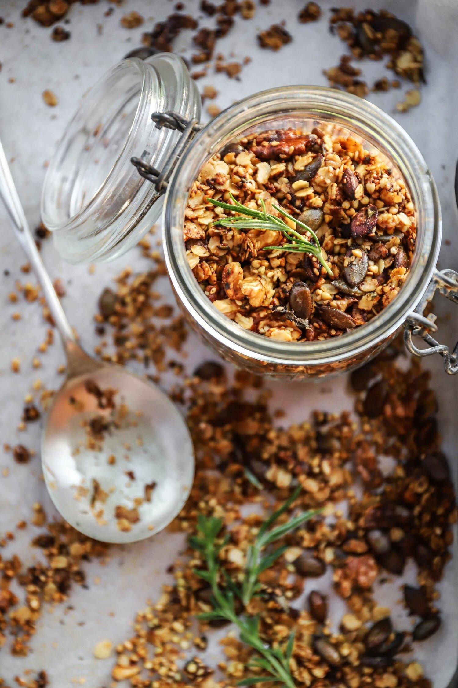 Savoury Granola With Buckwheat Walnuts Rosemary Mustard Judilicious And Nutritious