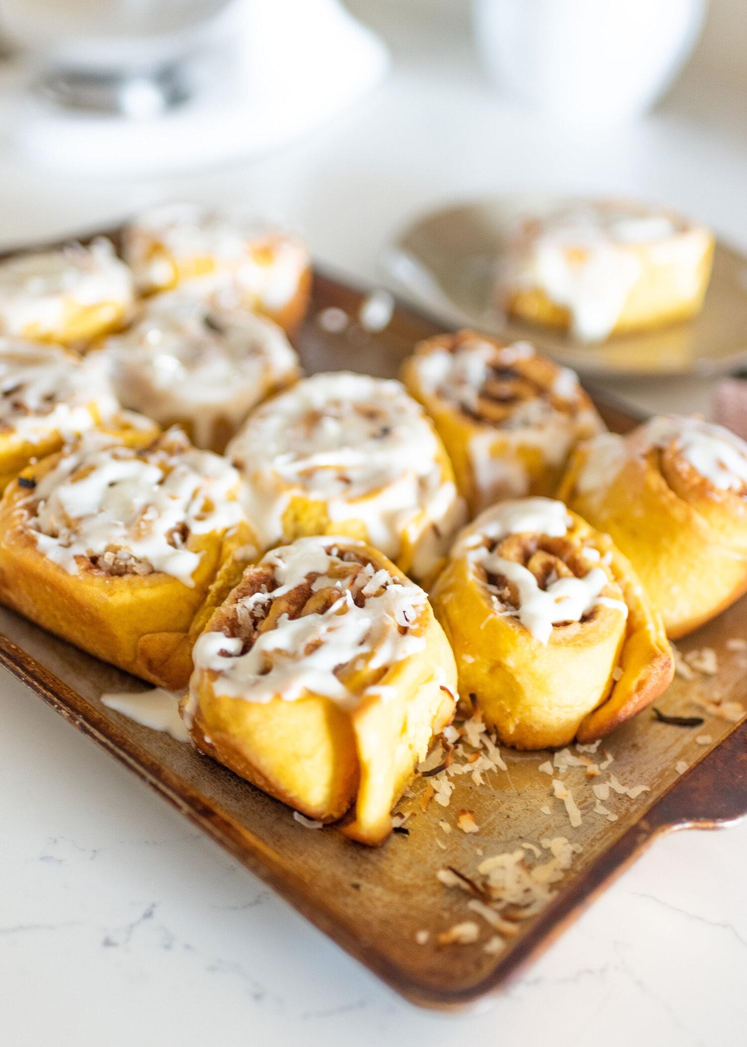 Sweet Potato Cinnamon Rolls with coconut — Vee the Baker