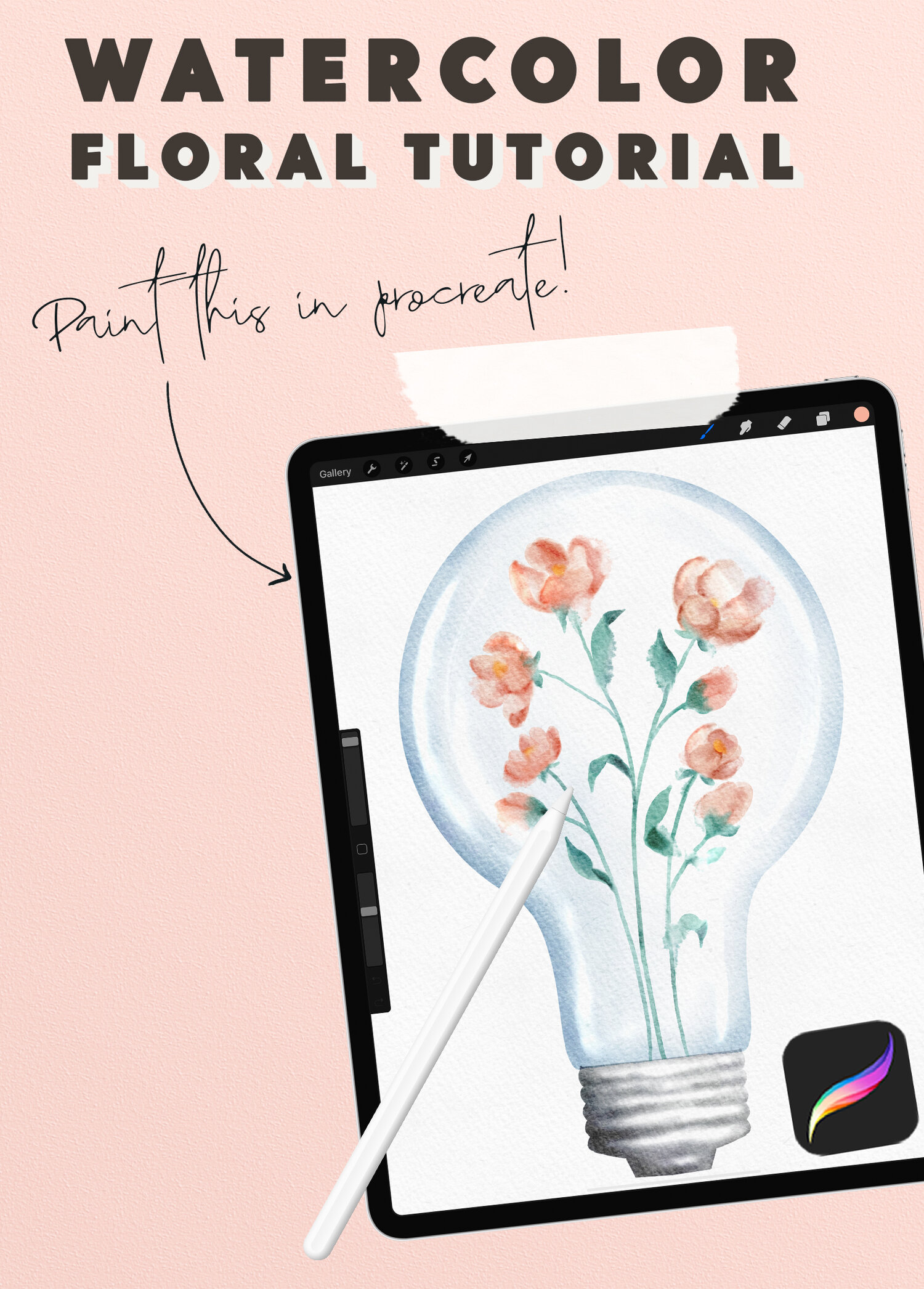 Watercolor Flowers In A Lightbulb Procreate Tutorial Wooly Pronto