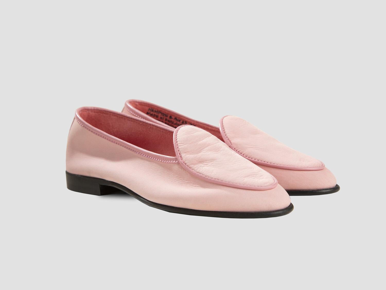 Women's Hampton Loafer in Baby Pink Deerskin — George Cleverley