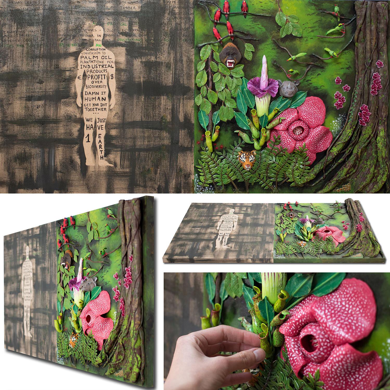 印尼森林砍伐,2017,雕塑画,斯特凡妮·基尔加斯特(StéphanieKilgast)