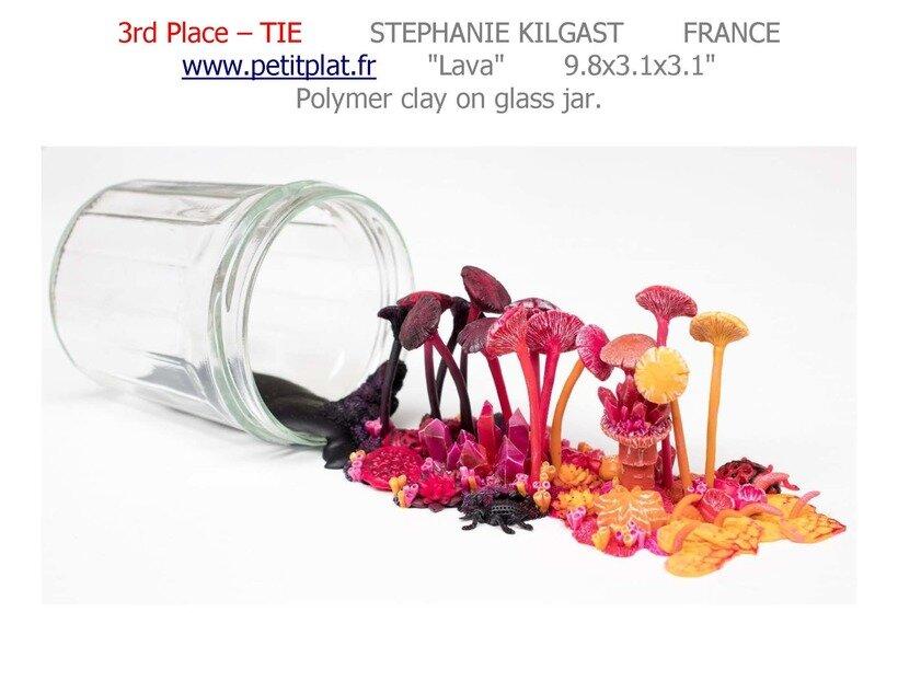 第三名,美国艺术奖,熔岩,玻璃瓶上的聚合物粘土,2017年,斯蒂芬妮·基尔加斯特