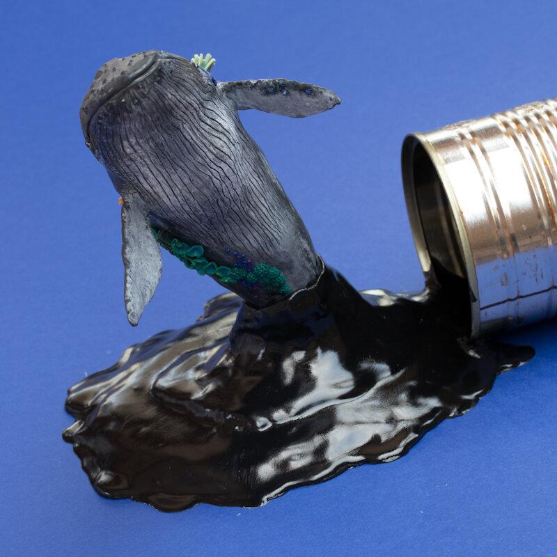 瓦莱尼斯蒂玛,溢油鲸鱼,2018年,锡罐上的混合媒体11选5技巧,斯蒂芬妮·基尔加斯特