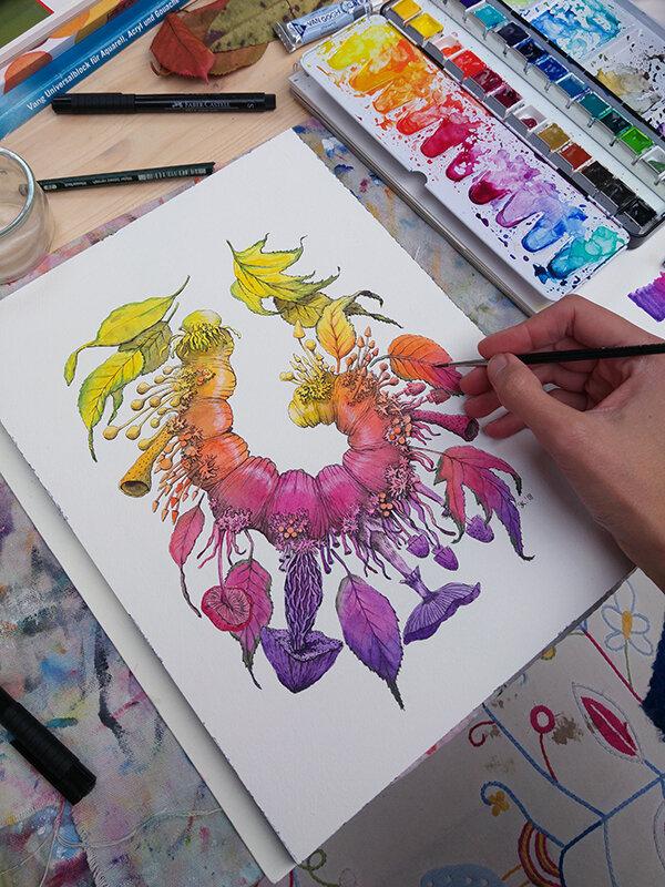 变更(毛毛虫),水彩画,2018,斯蒂芬妮·基尔加斯特