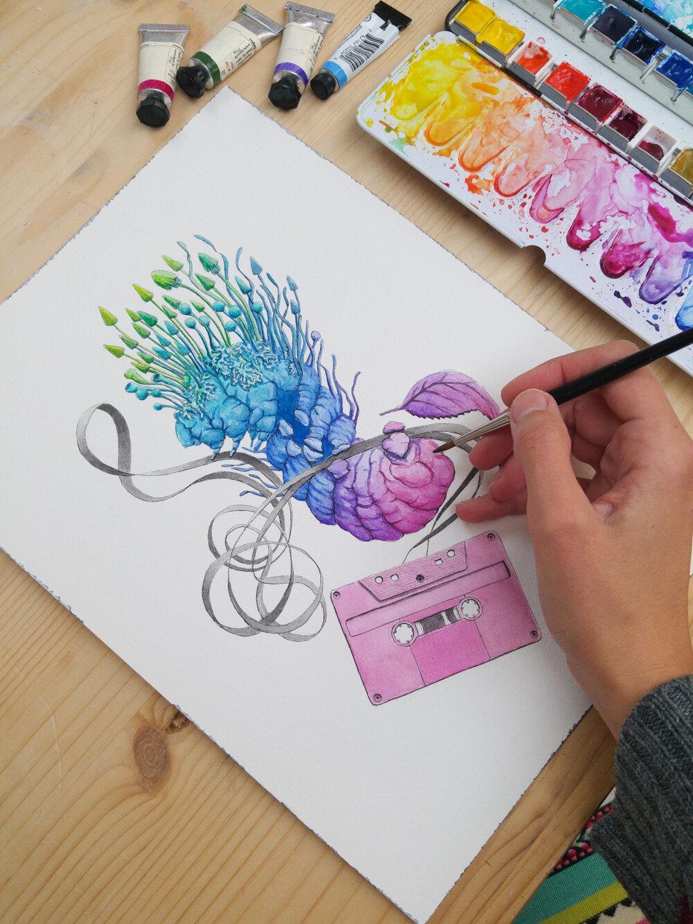 胶带(毛毛虫),水彩画,2018,斯蒂芬妮·基尔加斯特