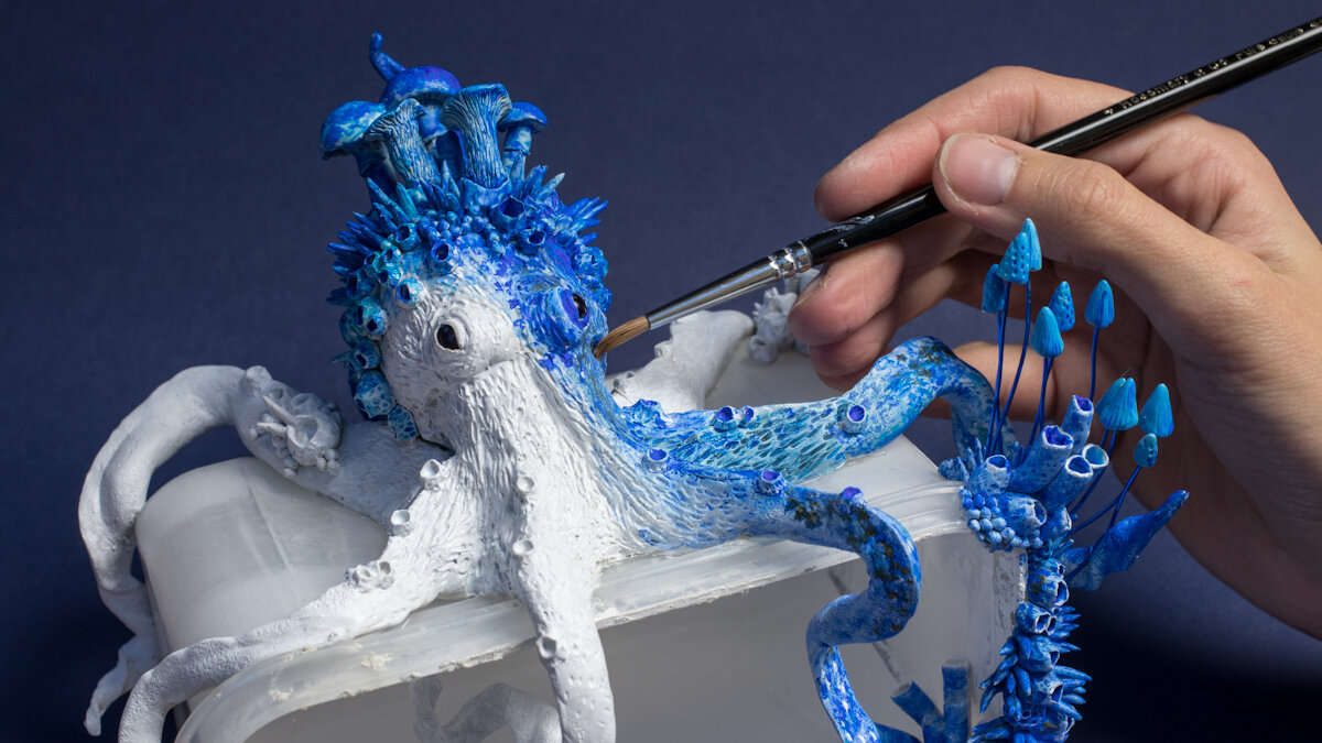 探索,章鱼雕塑,2018,混合媒体,斯蒂芬妮·基尔加斯特
