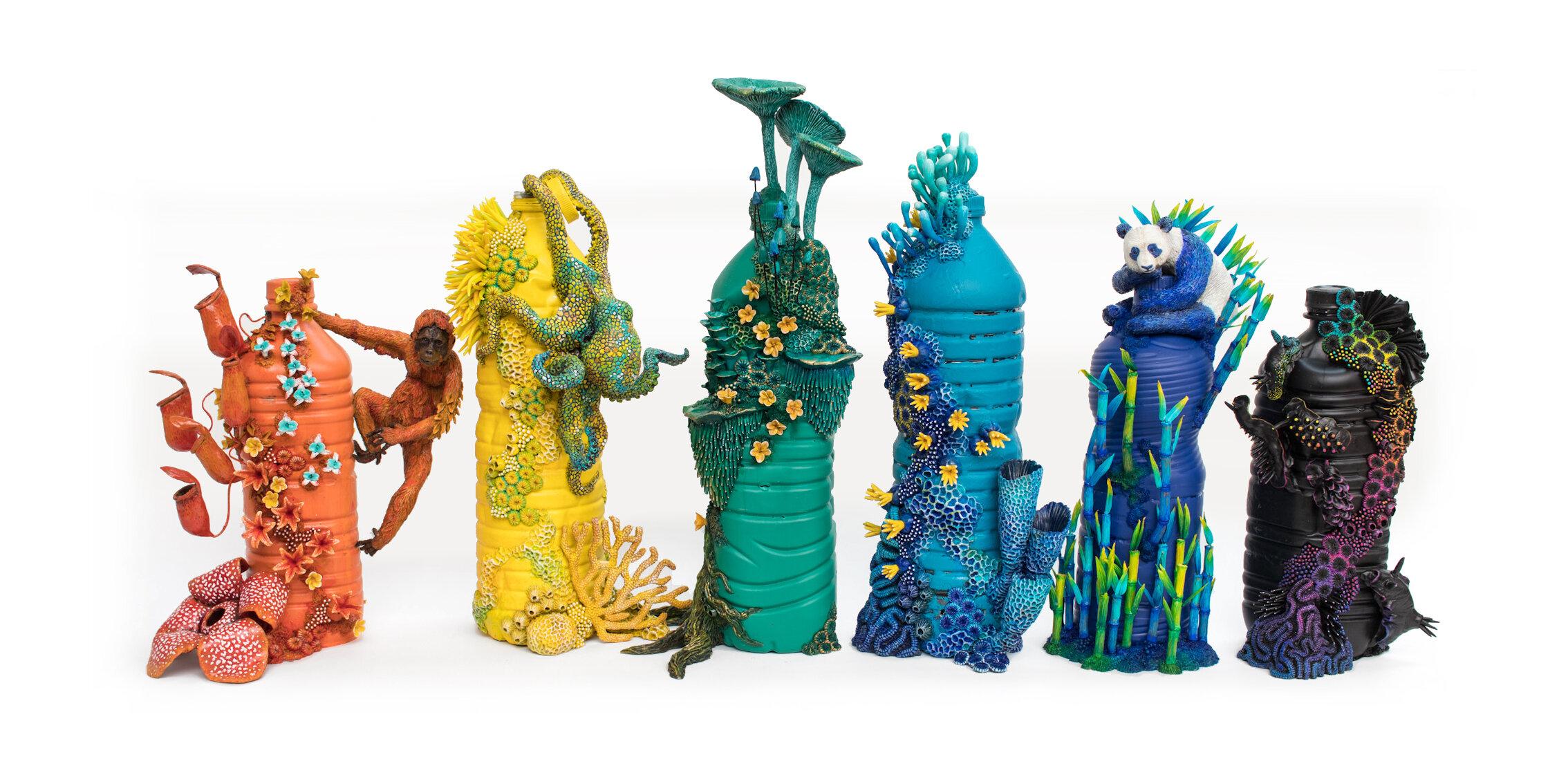彩虹瓶,塑料瓶上的混合媒体,2020年,斯蒂芬妮·基尔加斯特(Stephanie Kilgast)